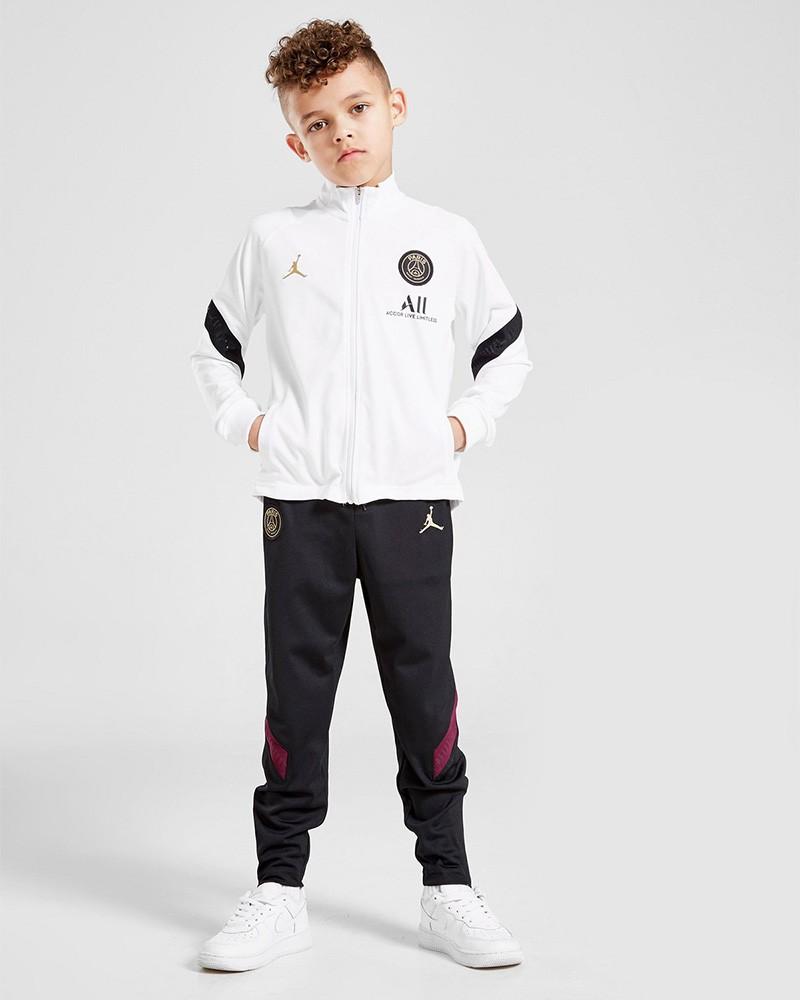 PSG Nike Jordan Tuta Intera Allenamento Training Bambino Bianco 2020 21 0