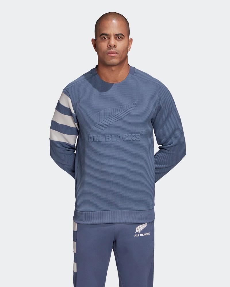 All Blacks New Zealand Adidas Felpa sportiva girocollo Crew UOMO Blu 2020 21 0