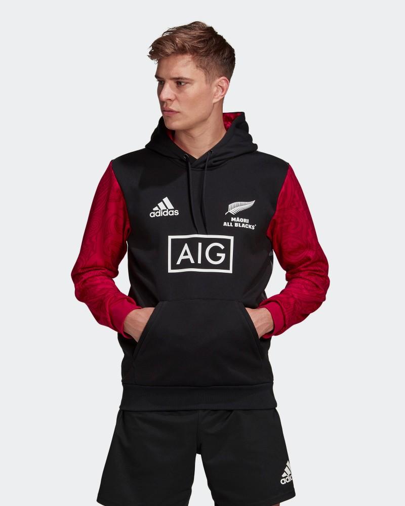 All Blacks New Zealand Adidas Felpa Cappuccio Hoodie Graphic MĀORI UOMO Nero 0
