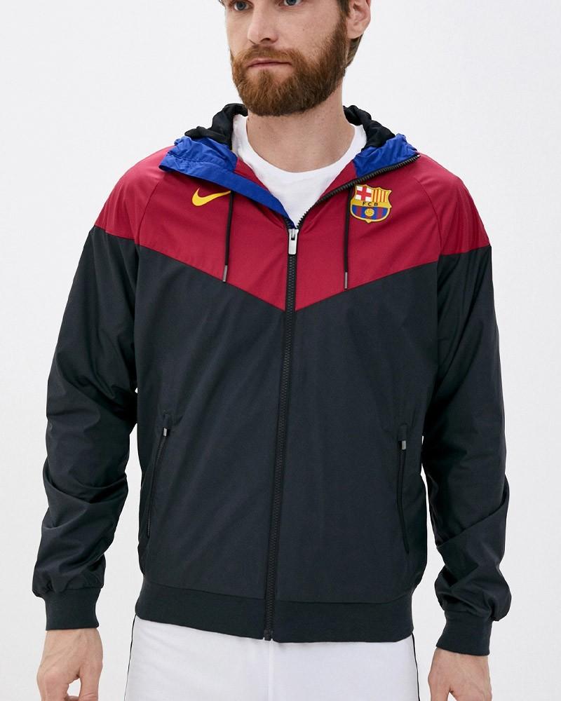 Barcellona Nike Giacca Sportiva Jacket 2020 21 UOMO Nero Windrunner Cappuccio 0