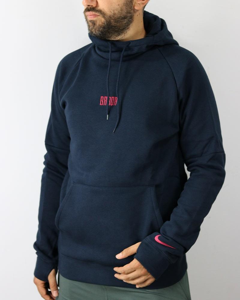 Barcellona Nike Felpa Cappuccio Hoodie Pullover Fleece 2020 21 Uomo Blu Cotone 0