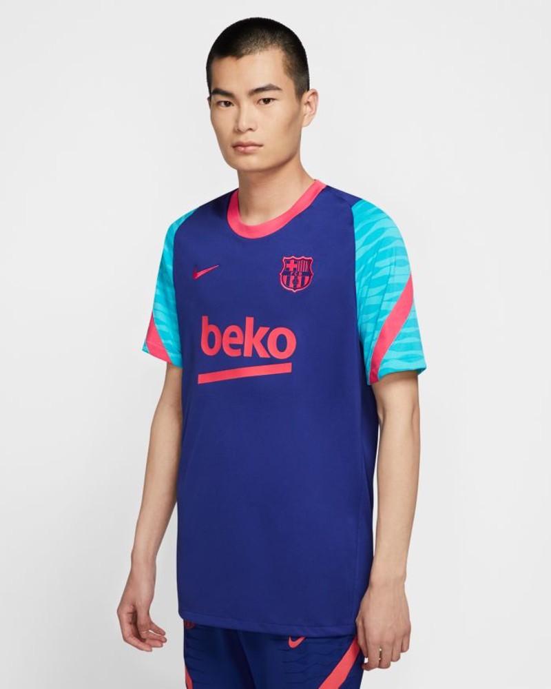 Barcellona Nike Maglia Allenamento Training Breathe Squad Blu 2021 0