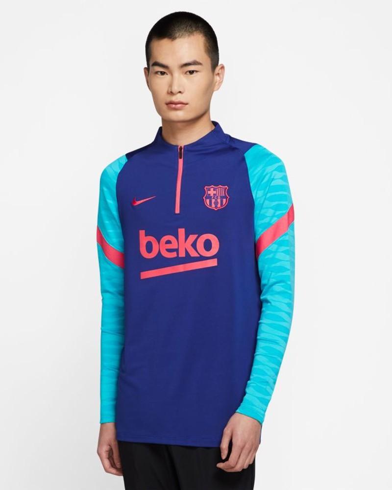 Barcellona Nike Strike Drill Felpa Allenamento Training Sweatshirt Blu 2021 0