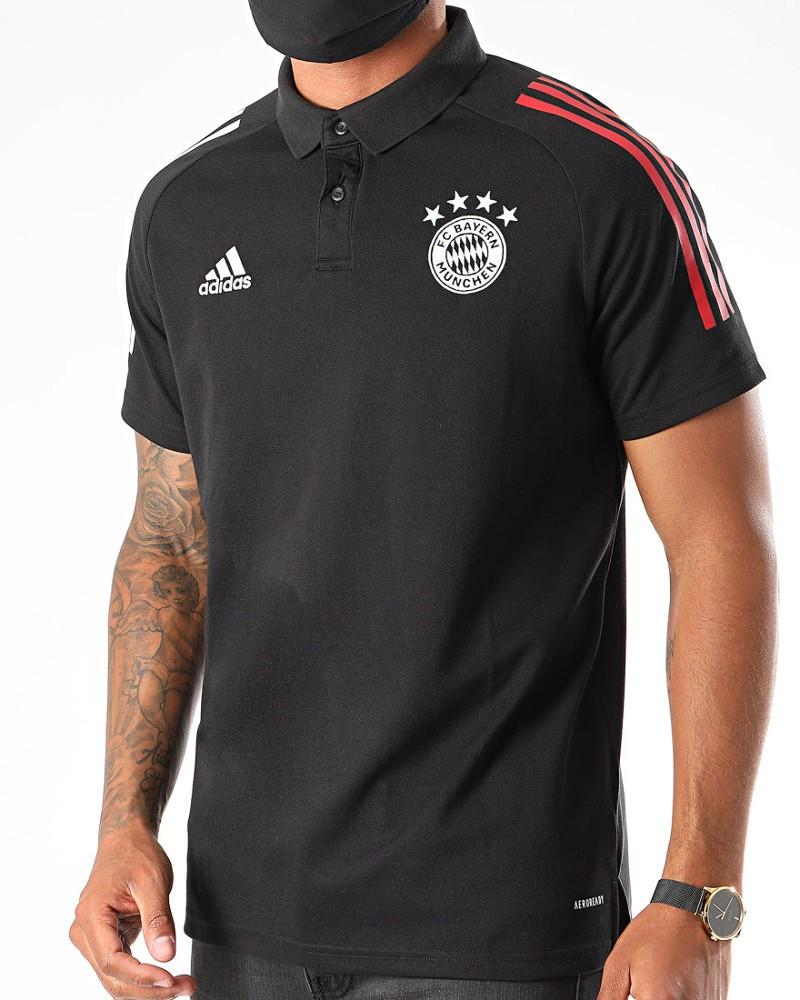 Bayern Monaco Adidas Polo Maglia UOMO Cotone AEROREADY Nero 2020 21 0