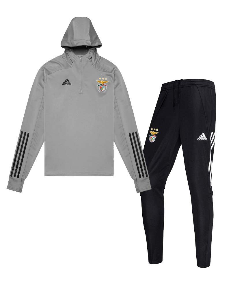 SL Benfica Adidas Tuta Allenamento Training UOMO Grigio Nero 2020/21 0