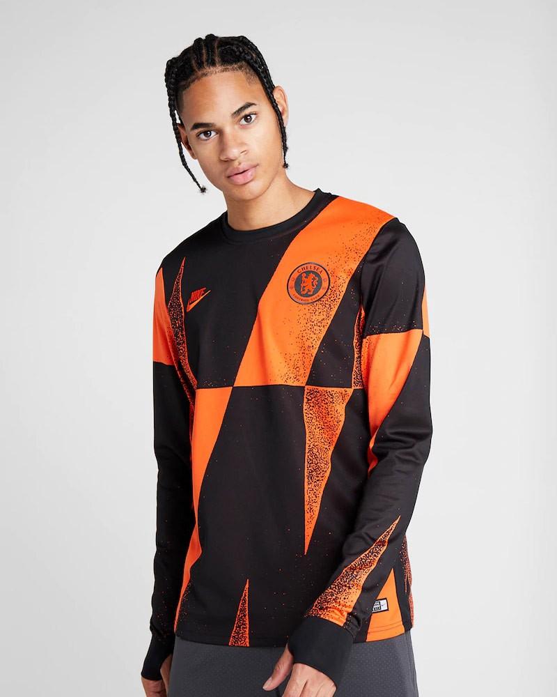 Chelsea Fc Nike Felpa Allenamento Training Sweatshirt Pre Match Nero Arancione 0
