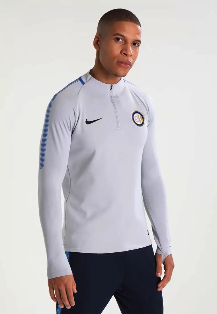Inter fc Nike Felpa Allenamento Sweatshirt Grigio 2018 Mezza zip squad drill 0