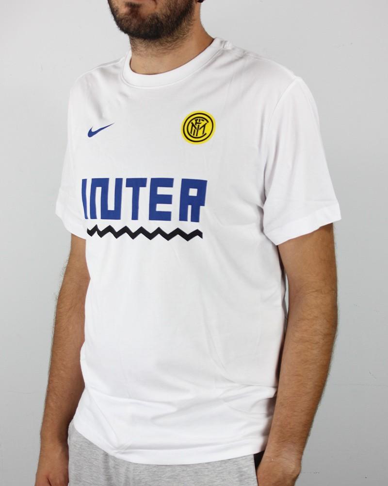 Inter fc Nike dry tee core match T-shirt Maglia Maglietta UOMO Bianco Cotone 0