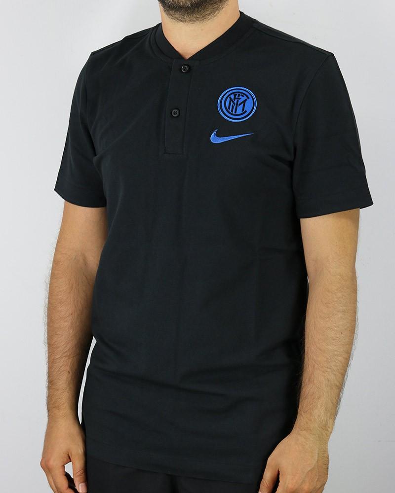Inter fc Nike Polo Maglia UOMO 2020 21 Nero Cotone Grande Slam Authentic 0