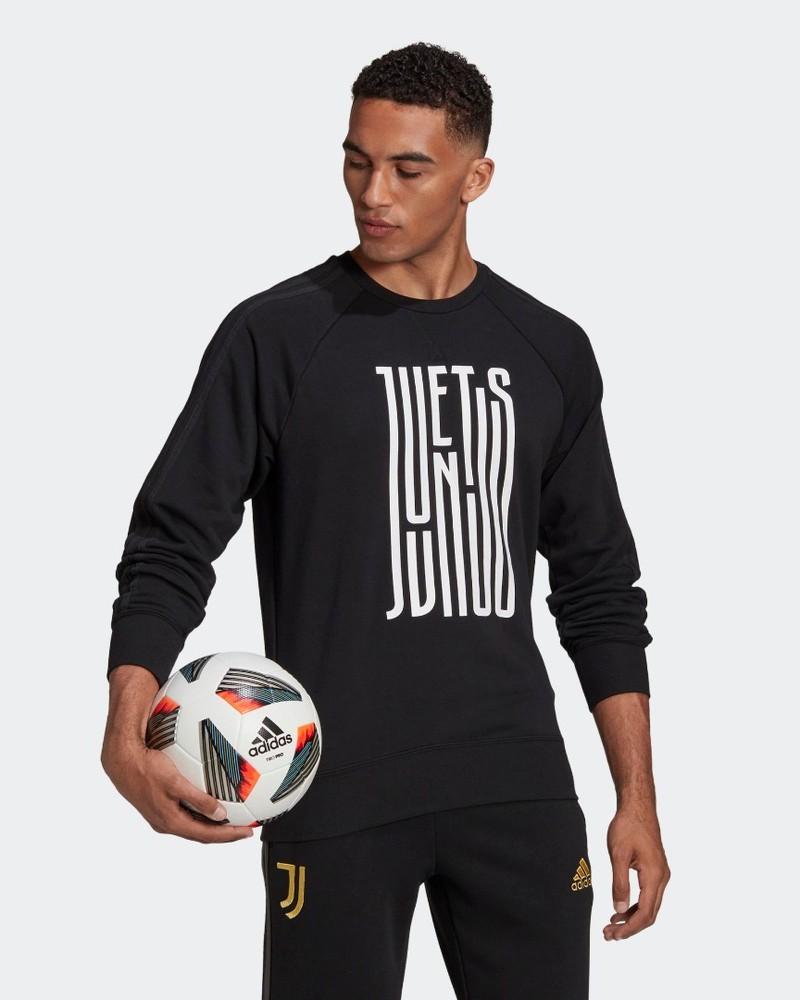 Juventus Adidas Graphic Crew Felpa sportiva girocollo UOMO Nero Cotone 2020 21 0