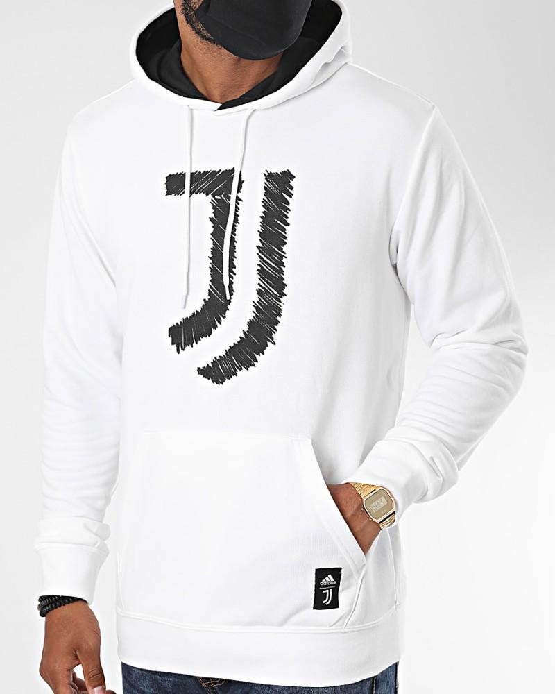 Juventus Adidas Felpa Cappuccio Hoodie UOMO Bianco cotone 2020 21 DNA 0