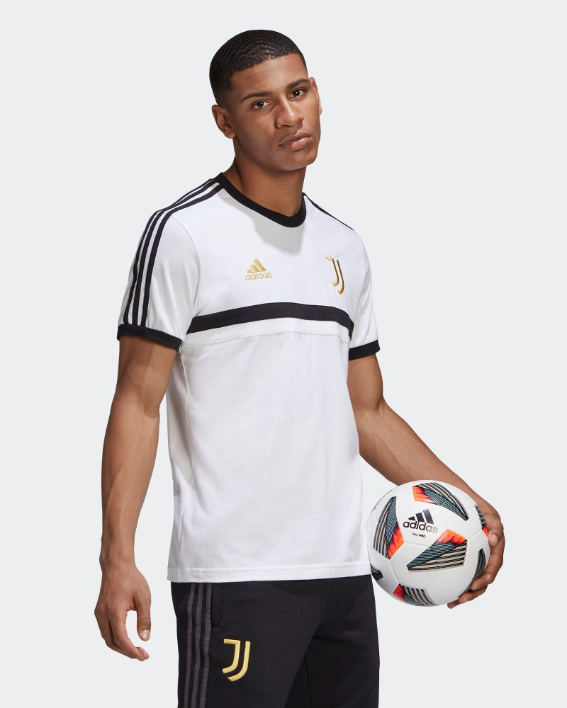 Juventus Adidas 3 stripes T-shirt tempo libero UOMO Bianco Cotone 2020 21 0