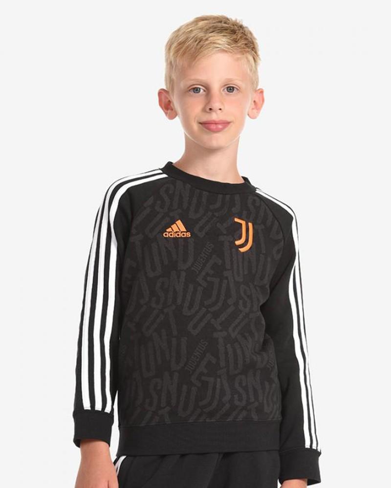 Juventus Adidas Felpa sportiva girocollo ragazzo Bambino Nero Cotone 2020 21 0