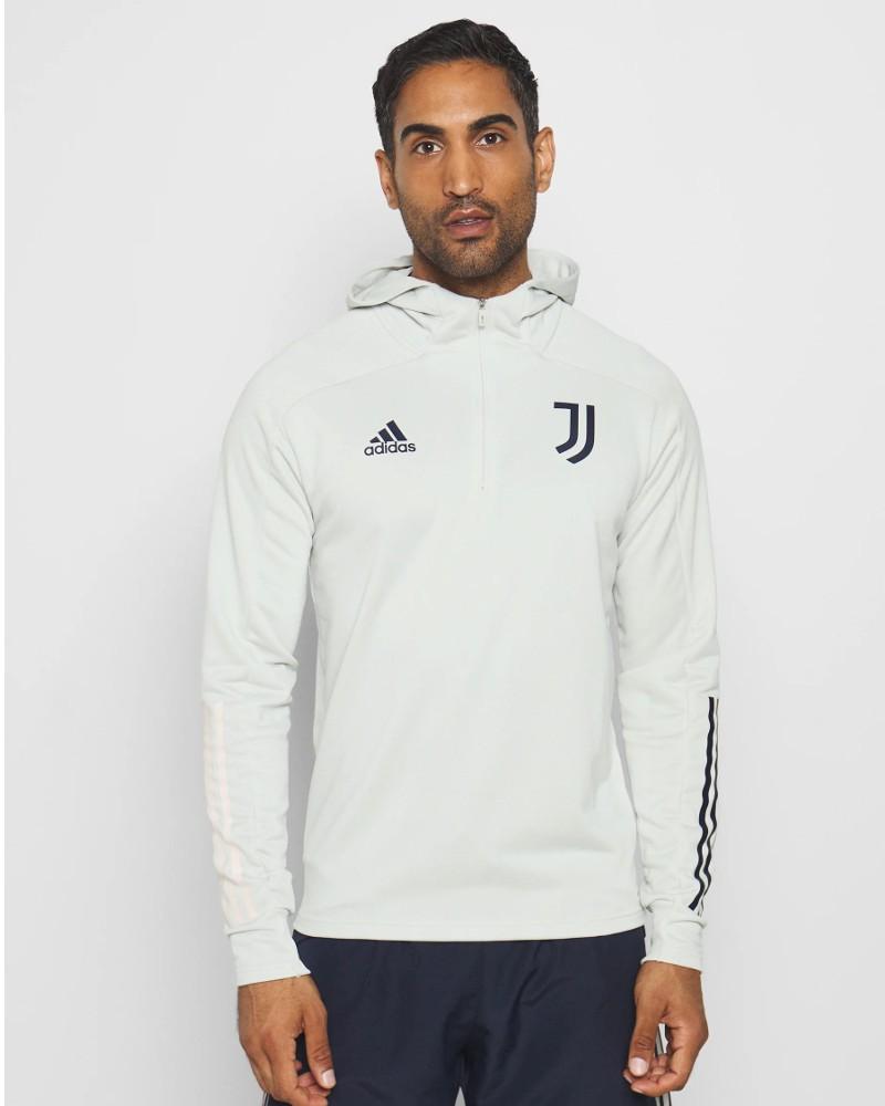 Juventus Adidas Felpa Allenamento Training Hoodie Bianco UOMO 2020 21 mezza zip 0