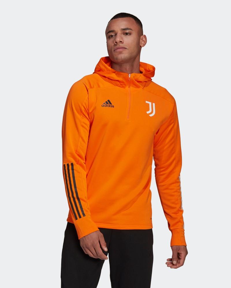 Juventus Adidas Hoodie Half Zip Felpa Allenamento Arancione UOMO 2021 0