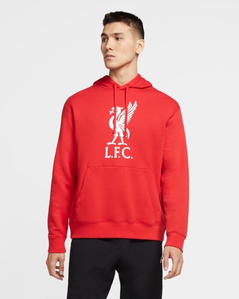 Liverpool Fc Nike Felpa Cappuccio Hoodie UOMO Pullover Fleece Sportswear Rosso 0