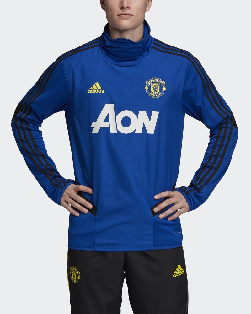 Manchester United Adidas Felpa Allenamento WARM TOP Blu Uomo 2019 20 Climawarm 0