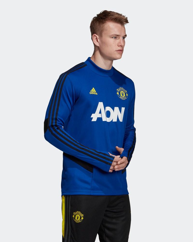 Manchester United Adidas Felpa Allenamento Training Top Blu Uomo 2019 20 0