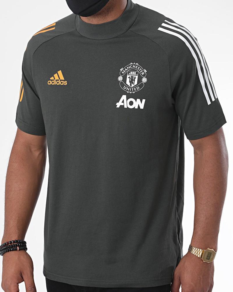 Manchester United Adidas Maglia Allenamento Training UOMO Grigio Cotone Tee 0