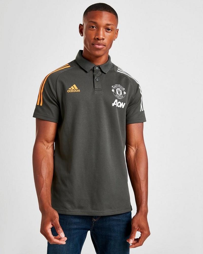 Manchester United Adidas Polo Maglia LEGEAR UOMO Grigio 2020 21 Cotone 0