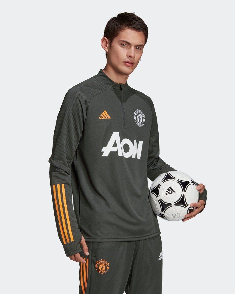 Manchester United Adidas Felpa Allenamento Training Top Grigio UOMO AEROREADY 0