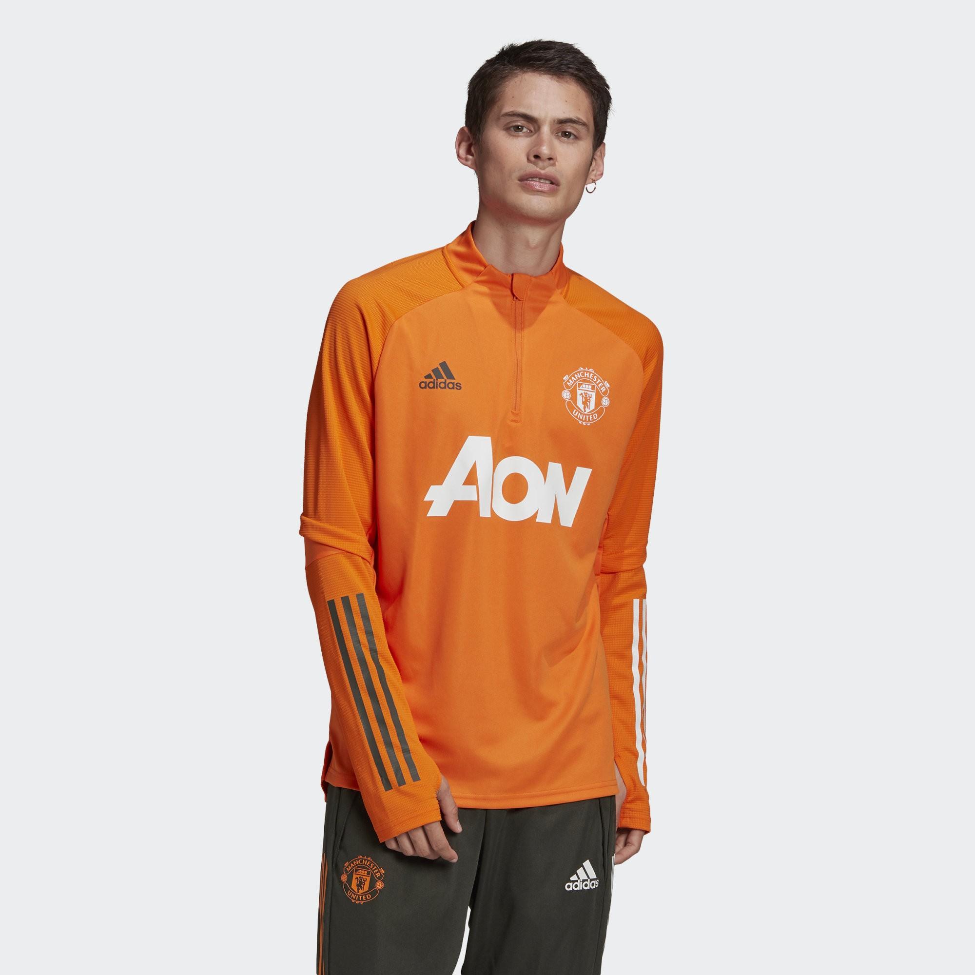 Manchester United MUFC Adidas Felpa Allenamento Training Sweatshirt Arancione 0