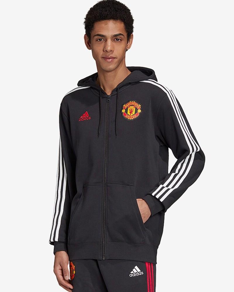 Manchester United Adidas Giacca felpa sportiva Hoodie Full Zip UOMO Nero Cotone 0