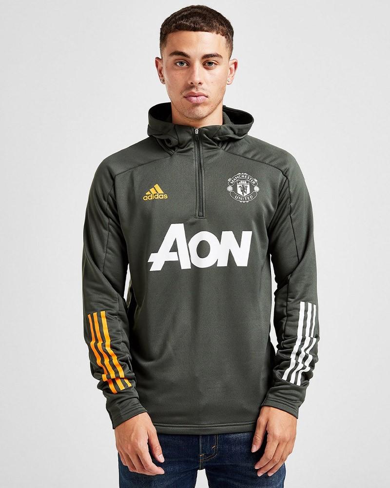 Manchester United Adidas Felpa Allenamento Training Cappuccio UOMO Grigio 0
