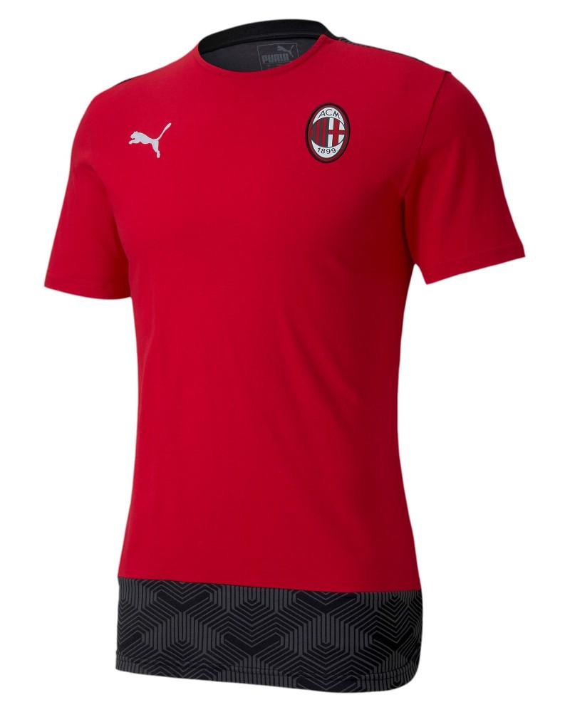 Ac Milan Puma Casual Maglia Maglietta T-shirt UOMO Rosso Cotone 2020 21 0
