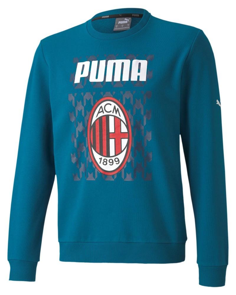 Ac Milan Puma Felpa sportiva girocollo 2020 21 tblCore Graphic Crew Sweat Blu 0