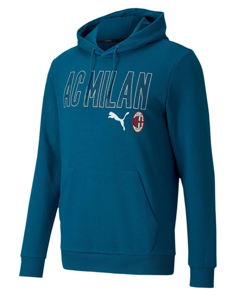 Ac Milan Puma FTBL CORE WORDING Felpa Cappuccio Hoodie UOMO Blu Normale 2020 21 0