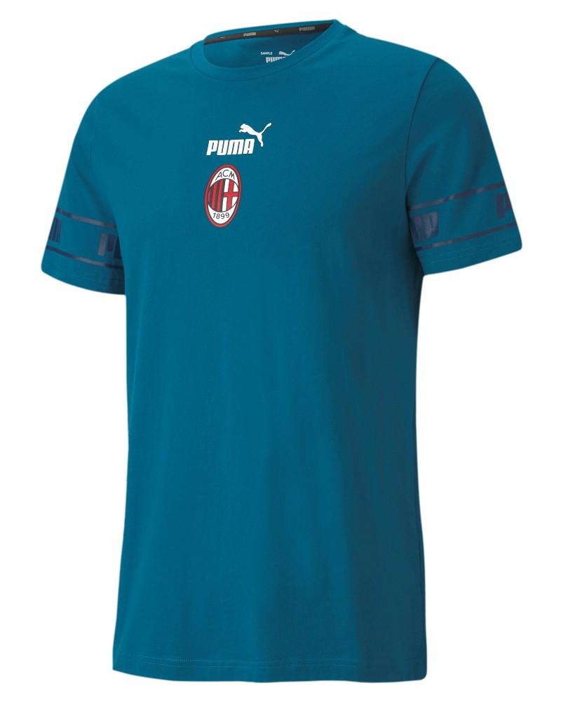 Ac Milan Puma Ftb Culture II Maglia Maglietta T-shirt UOMO Blue Cotone 2020 21 0