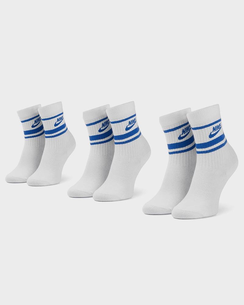 Crew NSW Essential Stripe Nike Calze Calzini Socks 3 paia Unisex Bianco Blue