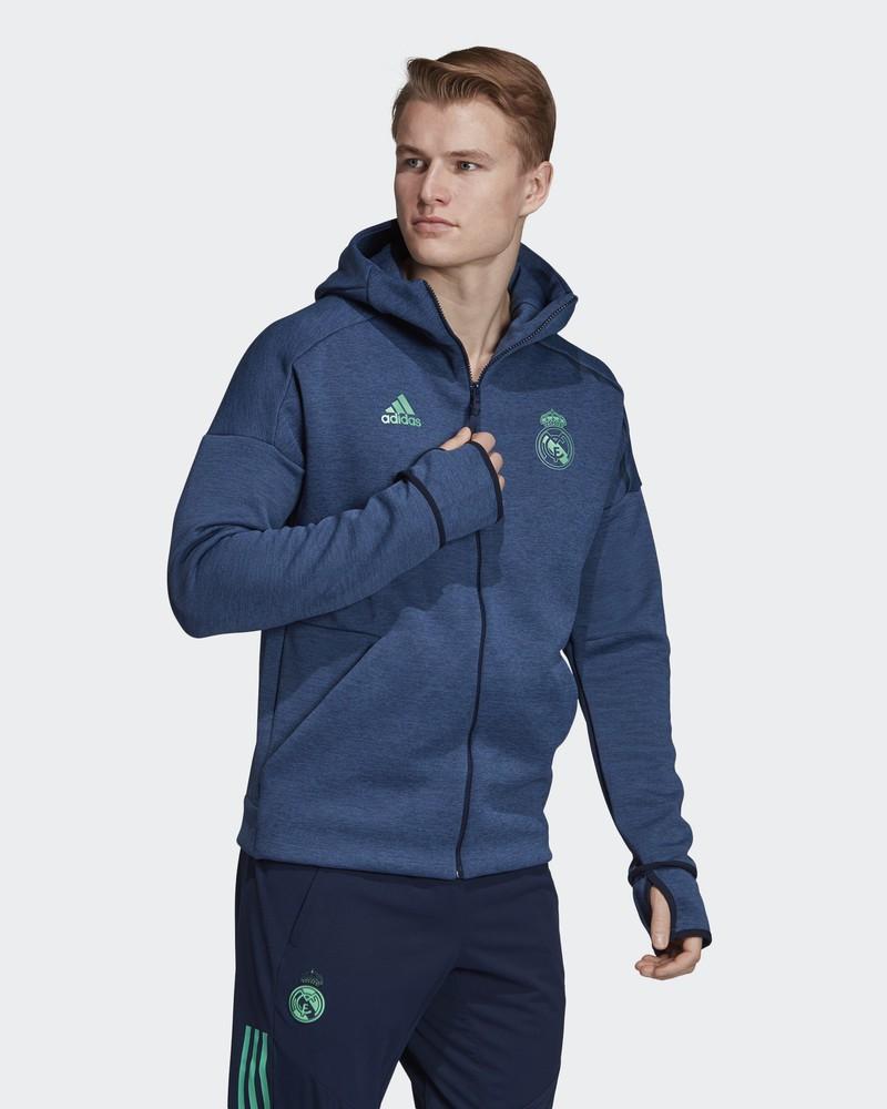 Real Madrid Adidas Giacca Tuta Pre Gara Pre Match Jacket con TASCHE a ZIP Blu 0