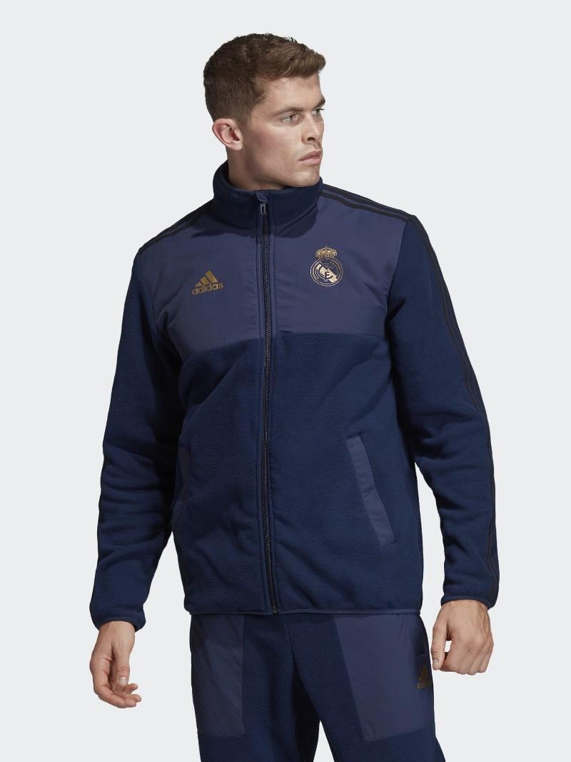 Real Madrid Adidas Giacca sportiva sport Jacket Uomo Blu SSP Fleece Top 2019 20 0