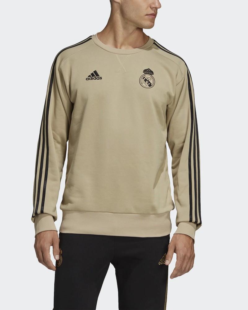 Real Madrid Adidas Felpa Sweat Top Crew Beige Uomo 2020 Cotone 0