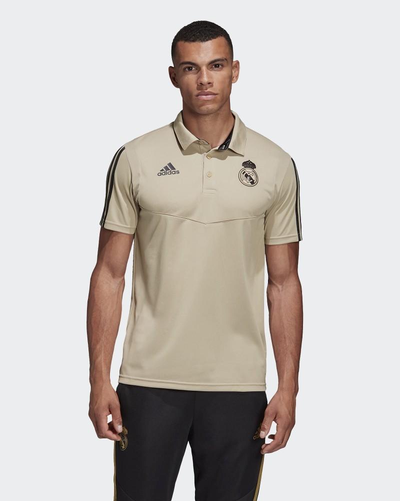 Real Madrid Adidas Polo Maglia Climalite Beige maniche corte 2020 0