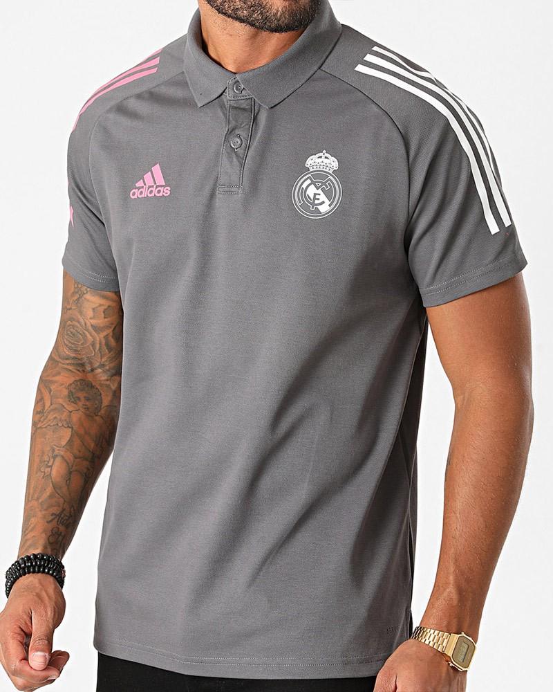 Real Madrid Adidas Polo Maglia Cotone UOMO Grigio 2020 21 AEROREADY 0