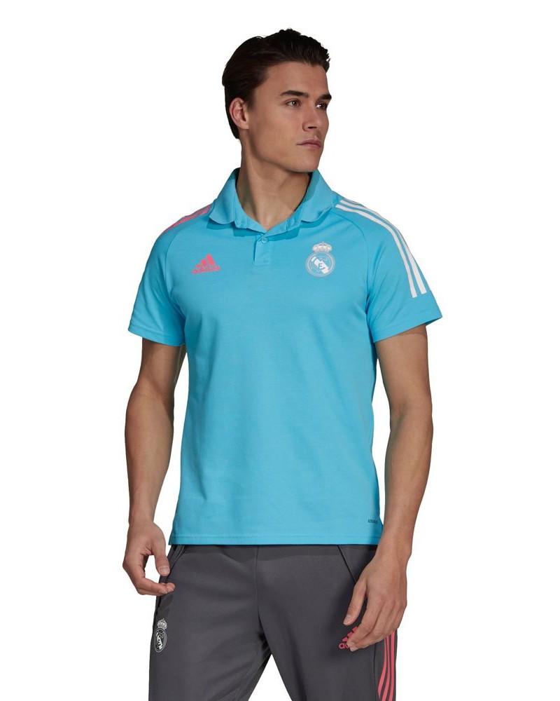 Real Madrid Adidas Polo Maglia UOMO Celeste Cotone AEROREADY maniche corte 2021 0