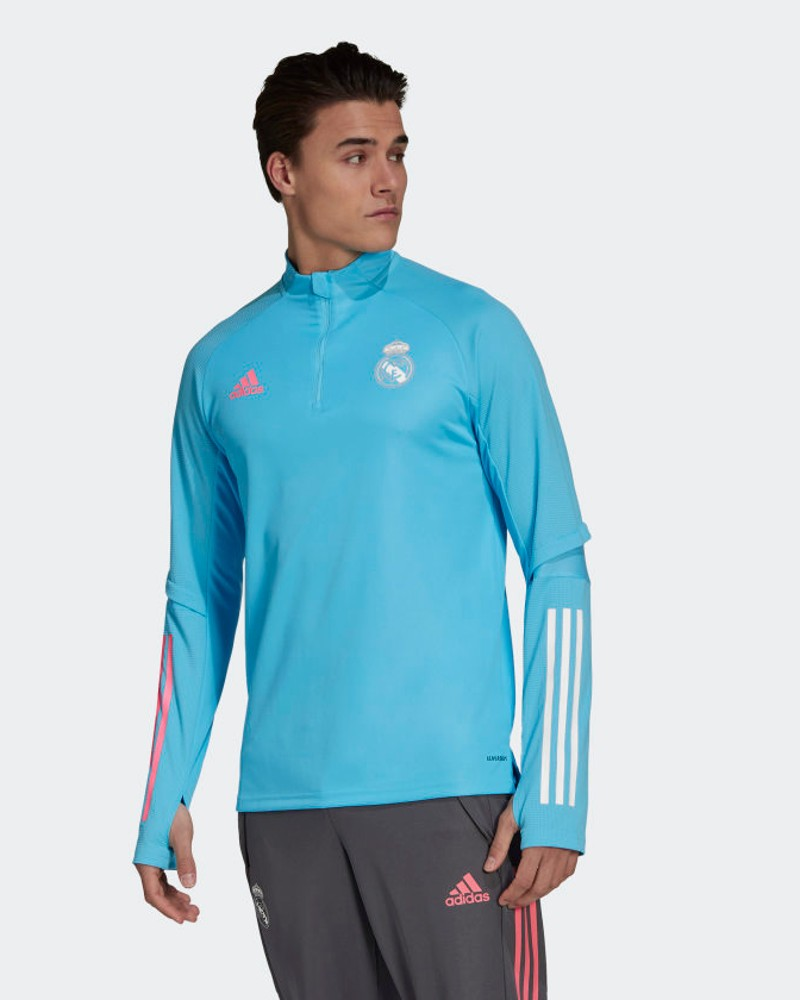 Real Madrid Adidas Felpa Allenamento Training Sweatshirt Azzurro UOMO 2021 0