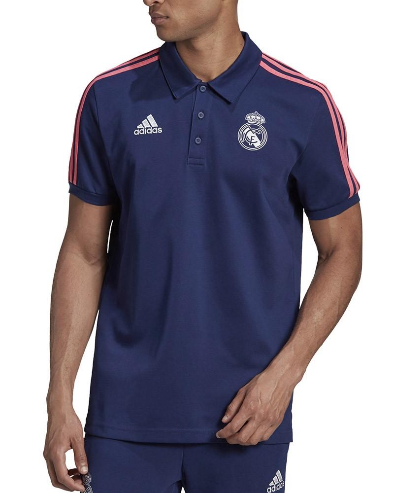 Real Madrid Adidas Polo Maglia UOMO Blu Cotone 3 Stripes 2020 21 0