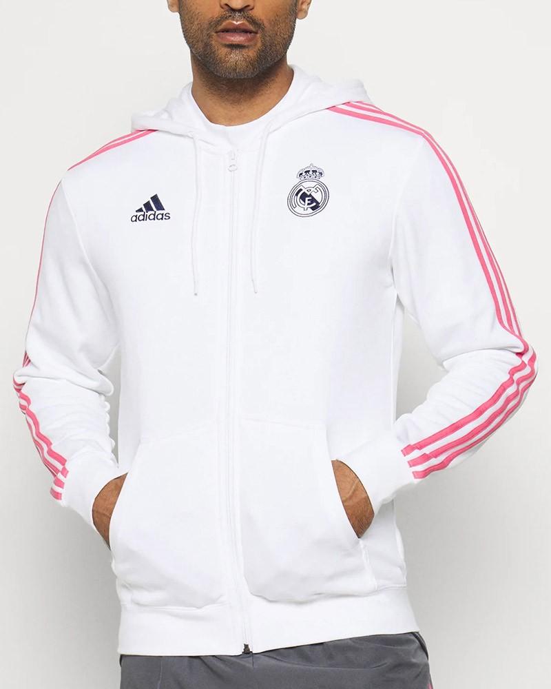 Real Madrid Adidas Giacca tuta felpa cappuccio UOMO Bianco Cotone 2020 21 0
