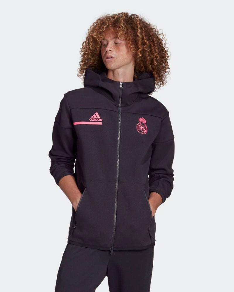 Real Madrid Adidas Giacca Tuta pre Match Anthem Zone UOMO Nero Cotone 2021 0