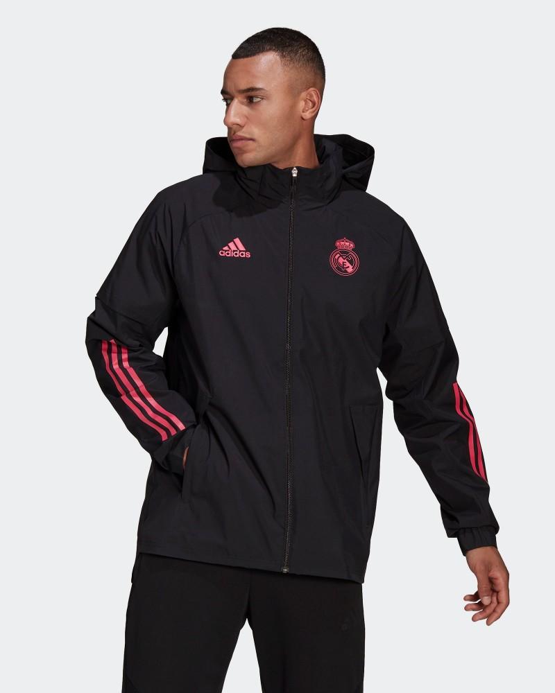 Real Madrid Adidas Giacca Vento pioggia UOMO Nero 2021 All weather 0