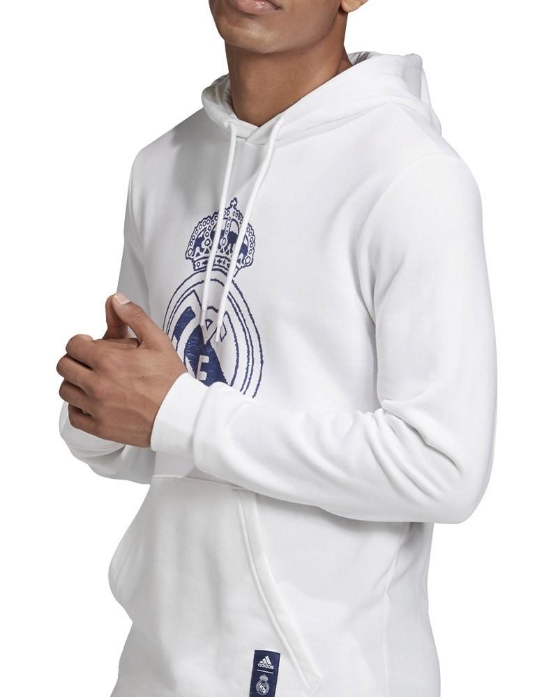 Real Madrid Adidas Felpa Cappuccio Hoodie UOMO Bianco Cotone 2020 21 0