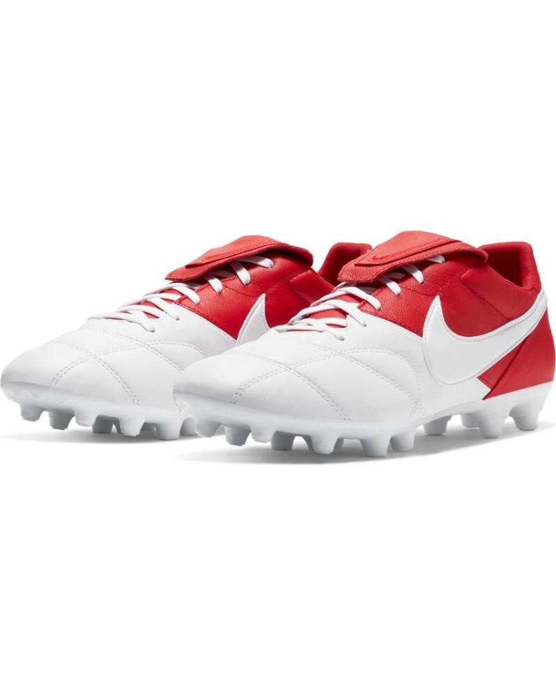 Nike Scarpe Calcio Football Premier II FG UOMO Bianco Rosso Pelle di canguro 0