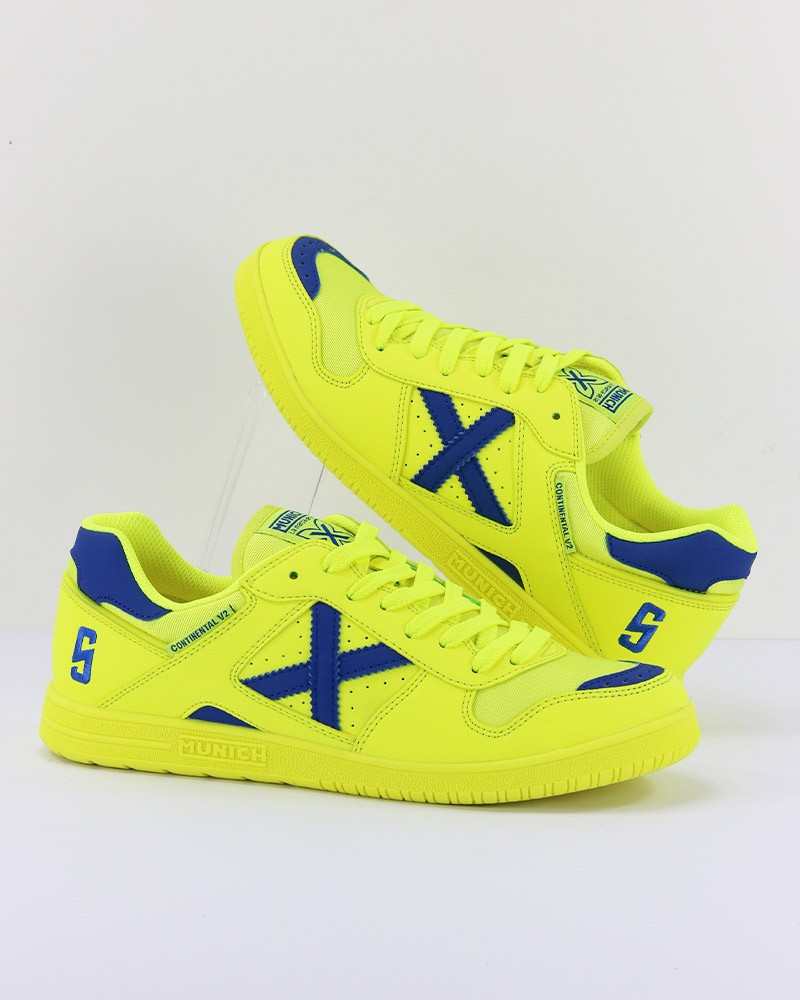 Munich Scarpe Calcio Calcetto Football Continental V2 UOMO Giallo Indoor Futsal 0